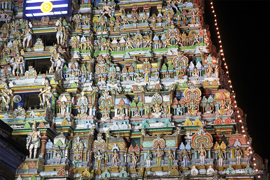 "Gopuram right side view. ""The temple is also known as one of the 5 Pancha Sabhas (dance halls) of Nataraja (lord Shiva); the others being at Chidambaram, Madurai, Tiruvalankadu and Kutralam."""