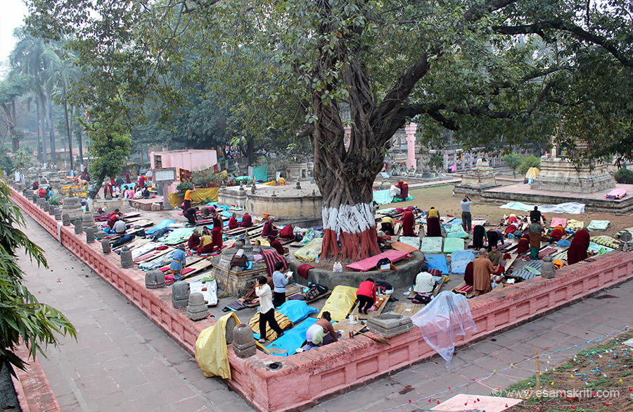 This is pic is from south west corner. Devotees taken wooden platforms and use them to continously prostrate before the Buddha as u can see some of them doing so in the picture. Some monks
