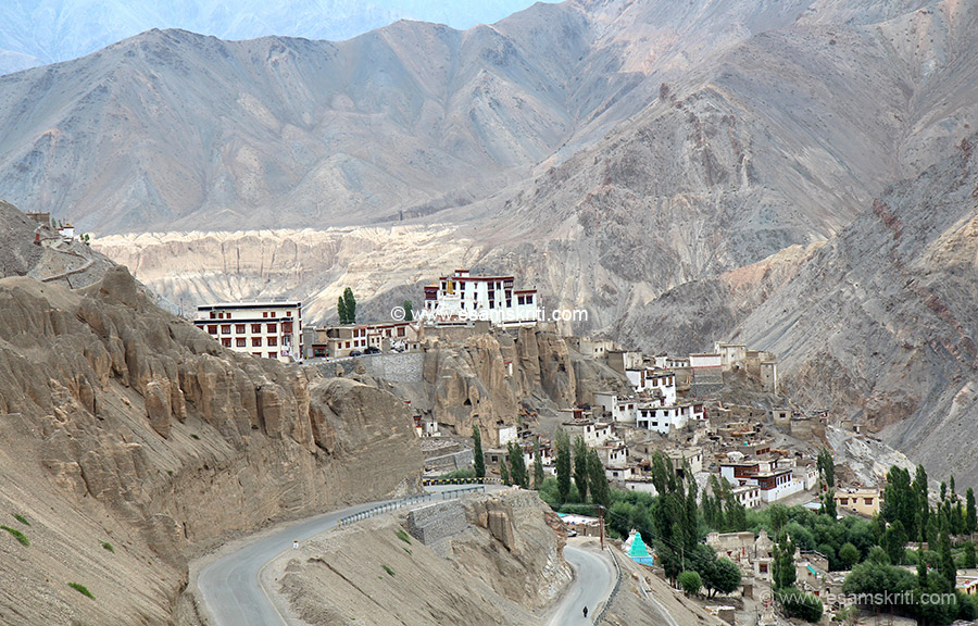 View of Lamayuru monastery with Moonland Formation in the background.