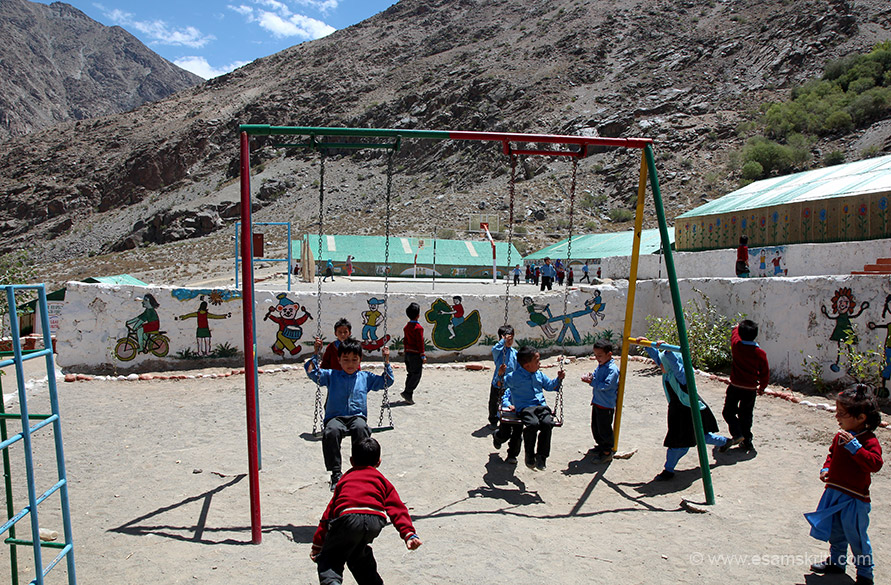 Recess time, kids playing. They ran out of their classrooms just like I did in my younger days. Found kids to be enjoying themselves, in and outside classrooms. Perhaps Subedar Harka Bahadur is blessing every child who comes to study in this school.