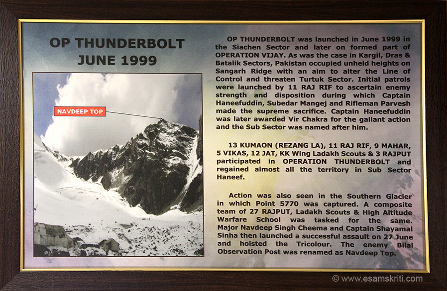 Details of Operation Thunderbolt June 1999. This formed part of the Kargil conflict. Enemy post was renamed as Navdeep Top after Major Navdeep Singh Cheema. Siachen Glacier
