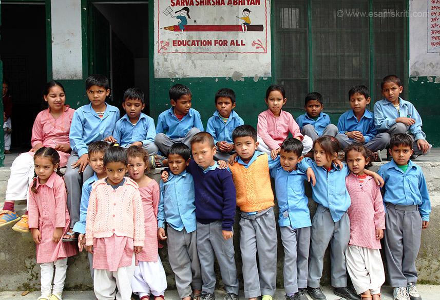 Group of children same school.