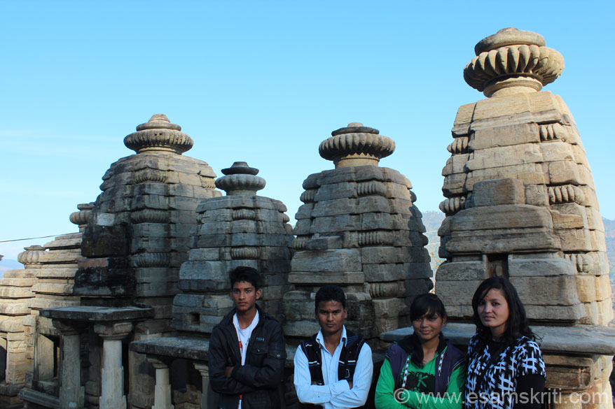 A group of college students from Almora at Sun Temple Katarmal ie 17 kms away from Almora.