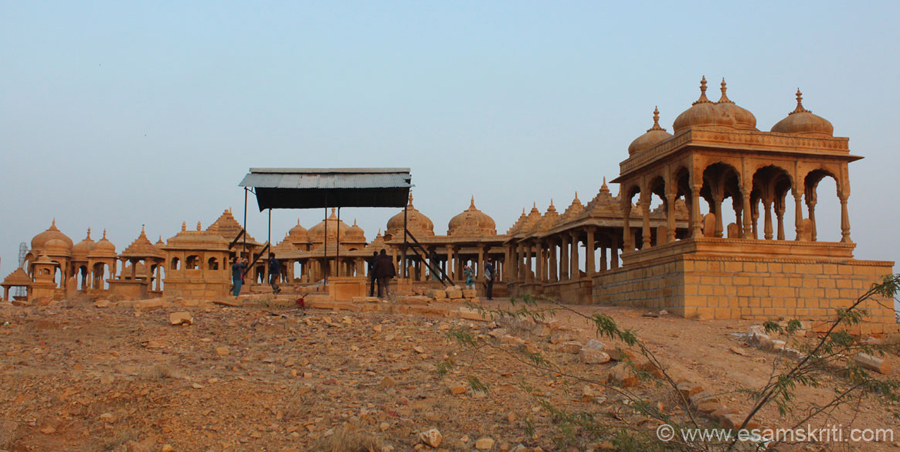 A few kms from Jaisalmer are Vyas Chhatris. These are cenotpahs of the Pushkarana Brahmins. U see an overview as one enters the complex. U get a good view of the fort from here.