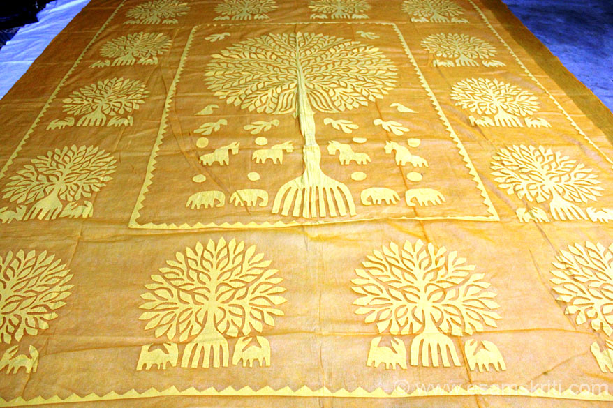 Tree of Life bedcover in applique work 95 by 108 cost app Rs 3,500/. After visiting this NGO and Villages realized how purchase of such products can contribute to increase their incomes