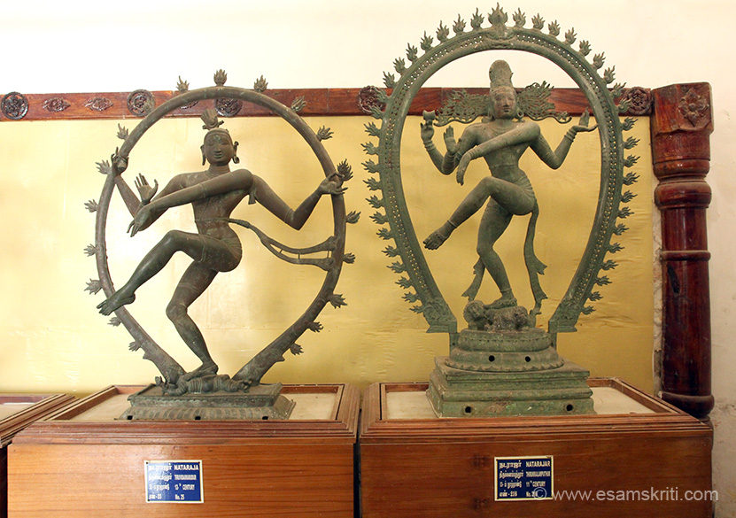 "Both are 11th century. Could not read names. Left ""Note how is waist cloth is flying in the air due to his dancing. However, interestingly this statue has no hair, which is often the key element in Nataraja sculptures."" Right ""This Nataraja from 11th century, shows the exact opposite. His hair is flying on both sides, while his waist cloth falls straight down."""