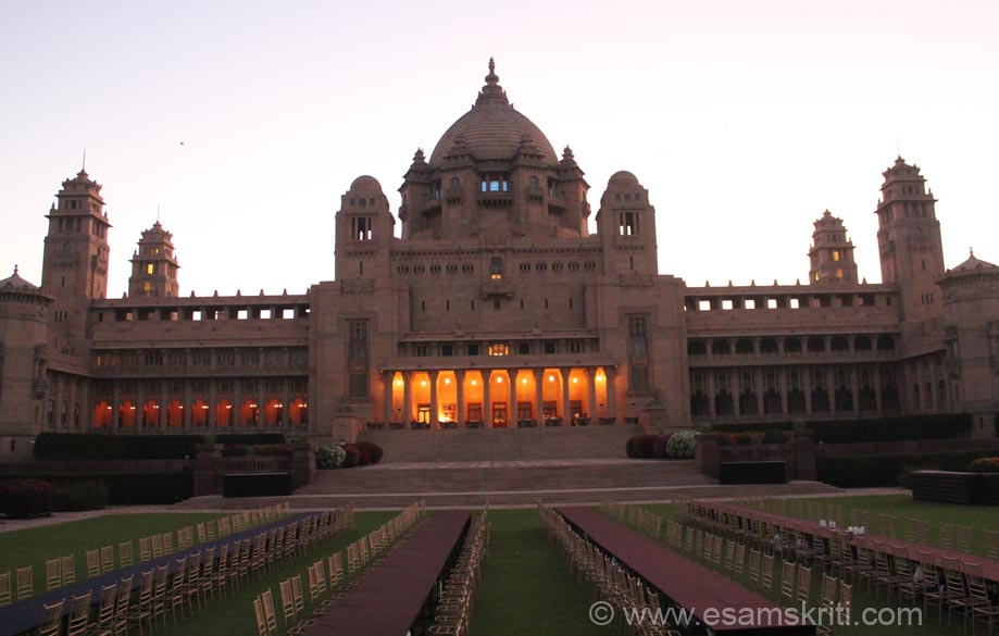 The next four pics are west side view of Umaid Bhawan. There is so much of peace and serenity in the lawns around sunrise that one can meditate there. Pic is before sun rise.