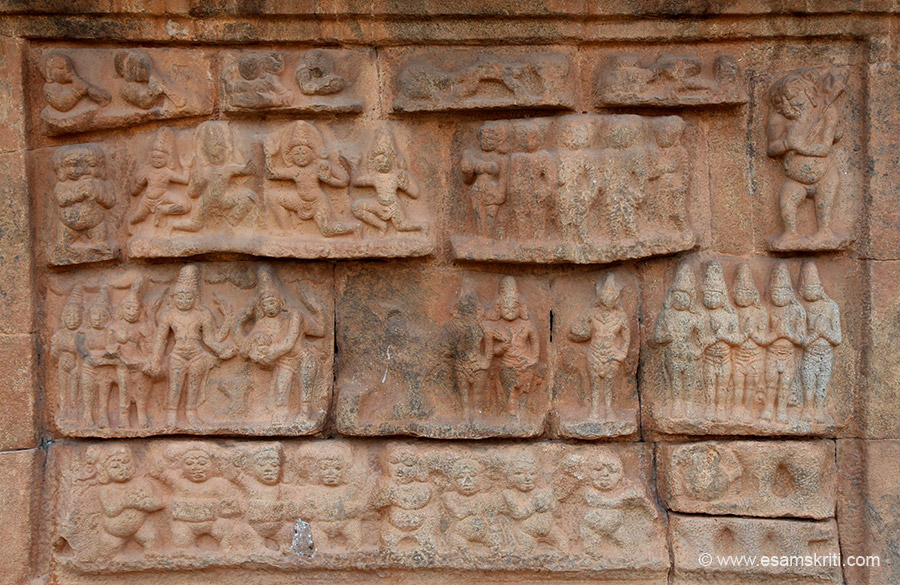 This is area below the dvarapalas. Left to right from bottom row 1 attendants of Shiva. Row 2 Shiva getting married to Parvati. Row 3 Devas or simply put Gods. Row 4 priests.