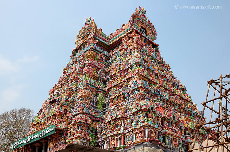 "Side view of the gopuram to give you an idea of intricate work. ""Apart from the presiding deity Lord Ranganathar, the temple complex comprises of many other sannathis and about 53