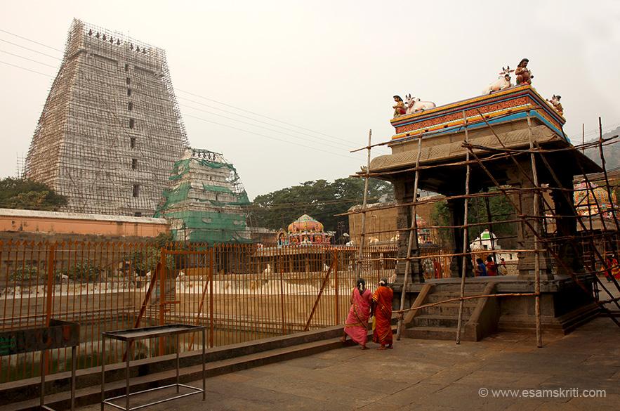 Gopuram in centre is second gopuram, smaller one is third gopuram, tank is Barhma Theertham with the Teerthavari Mantapam. Close by is Kala Bairava Shrine.