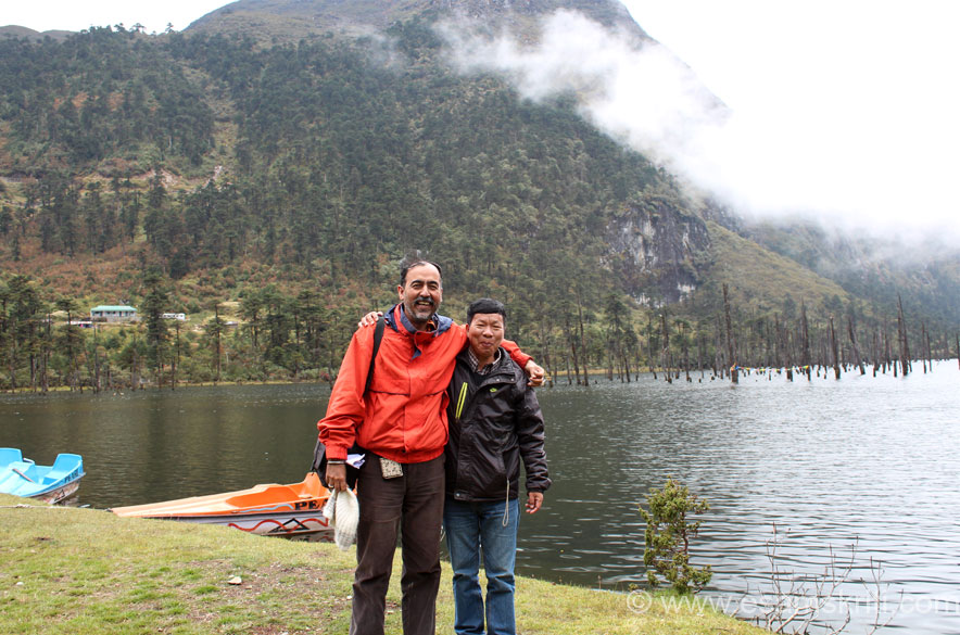 "Me and a local friend at lake bank. We loved the place - did not feel like leaving. U get very good chole bathura at the cafeteria there. To see the beautiful plateau of Ziro <a href  = ""http://www.esamskriti.com/photo-detail/Ziro.aspx"" target = ""_blank"" > Click Here </a>"