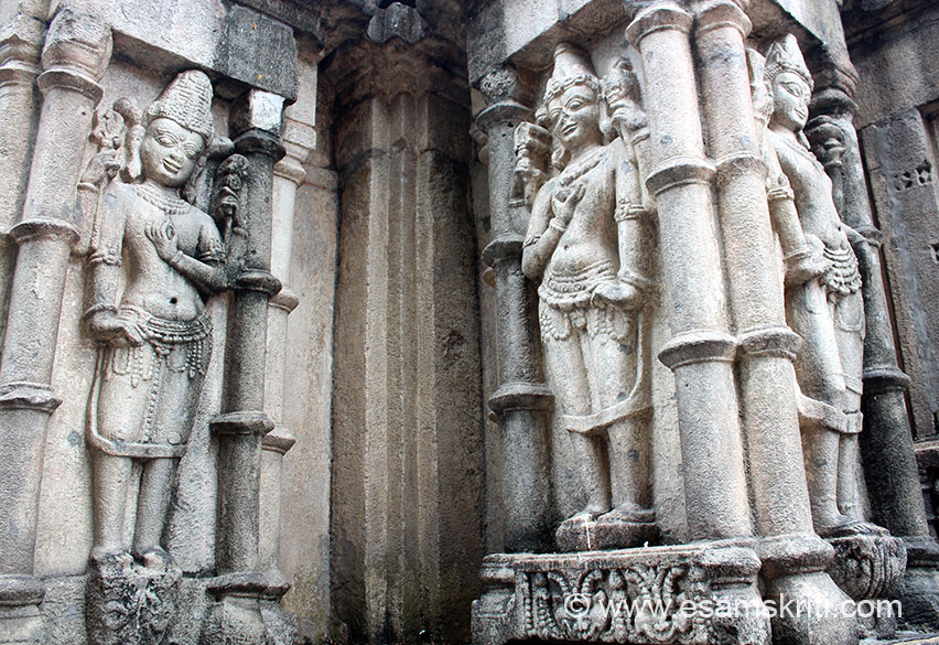 """Looks like Lord Shiva and Vishnu. Right side bottom of pic is Kirti Mukhas - there to drive away evil spirits. Have seen them in temples across the country be it Kiradu temples in Barmer or Thousand pillared temple near Mangalore. To see pics of temple <a href=""""http://www.esamskriti.com/photo-detail/Karkala.aspx"""" target=""""_blank"""">Click here</a>"""