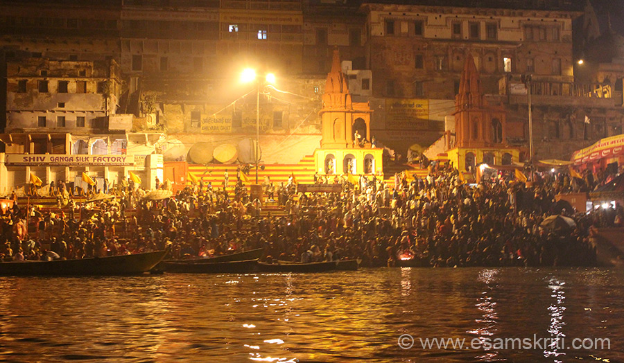 Early morning view of ghat next to Dasashvamedha Ghat on Kartik Purnima day. It is an auspicious to bath in the holy Ganga on this day.