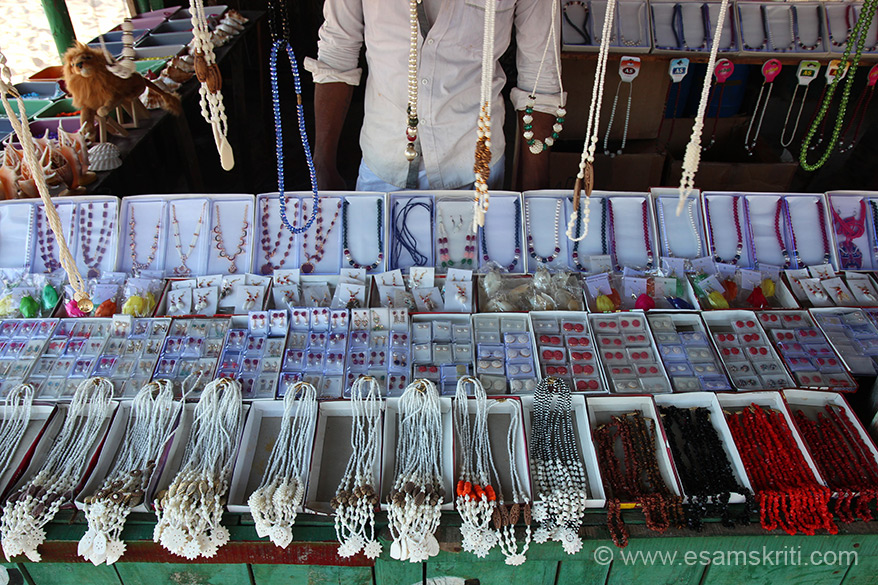 Necklaces and malas made from shells. Bought five of them for Rs 120/. Wifey loved. Perceived value much higher. To read a very good travelogue with pics 
