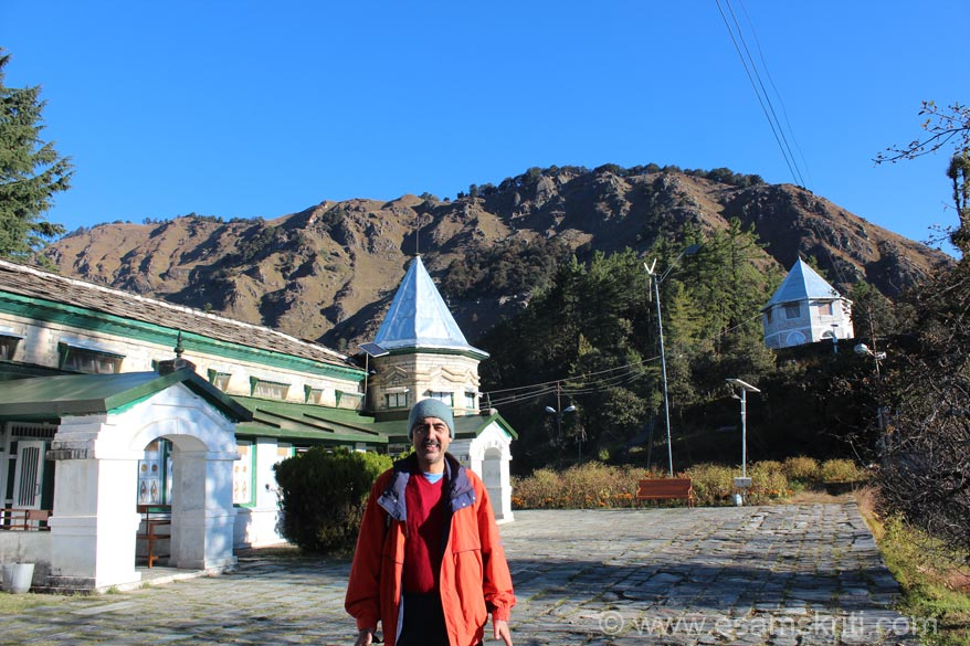 U see me at Narayan Ashram. Left is the main temple. Dome like structure on right is where the current Swamiji resides when he comes to the Ashram.