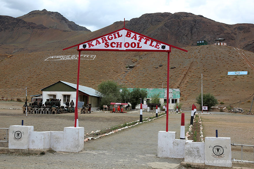 Entrance to Kargil Battle School. Jawans go through a three week training program that involves acclimatization, rock craft, dealing with avalanches, stream crossing techniques etc.