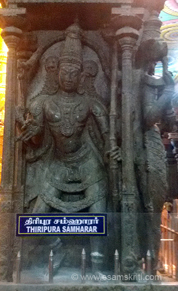 THIRIPURA SAMHARAR image. Temples beautiful. Wish all boards were in English also.