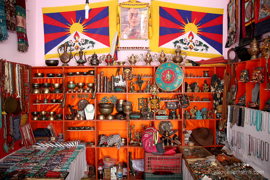 Inside a Tibetan shop. Love the stuff the ladies sell. Lots of Tibetans in Leh - saw many shops run by them.