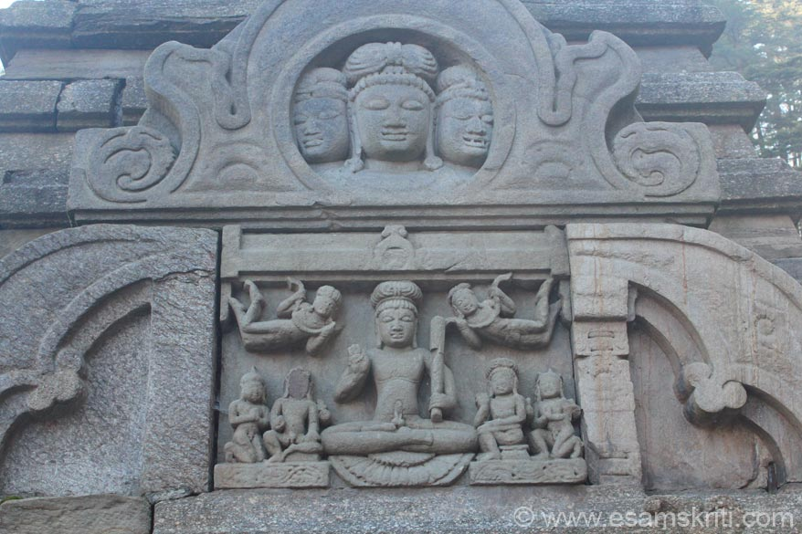 Top centre carving could be Buddhist not sure. Below is a Yogi sitting in padmasan in meditation being disturbed by Apsaras shown as hanging in the air.