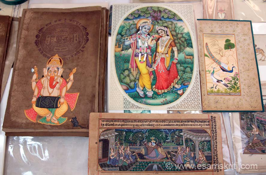 Left is painting on old stamp paper, to its right is Radha Krishna, bottom pic is also on old paper. Some of the papers we saw were nearly 100 years old. Balaji Miniature Art specialise in rajasthani traditional miniature paintings on all types of marble, wood, metal and silk.