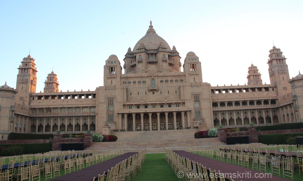This pic is post sun rise. Chairs that you see are for wedding to be held later in the day. Esamskriti has not accepted any hospitality or fees for showcasing Umaid Bhawan Palace.