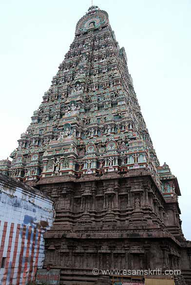 View of gopuram from north east side. Unfortunately very few stone images in niches.