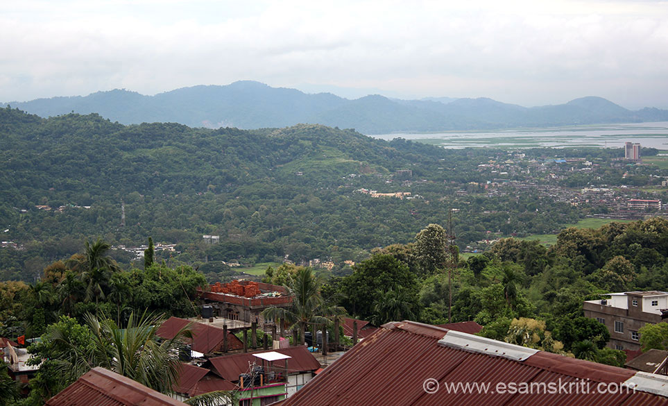 """View from hill top. Behind is river Brahmaputra called Louhitya in Sanskrit epics and Puranas. To see good You Tube on visit to temple <a href=""""https://www.youtube.com/watch?v=YubnjhWCSjw"""" target=""""_blank"""">Click here</a>"""