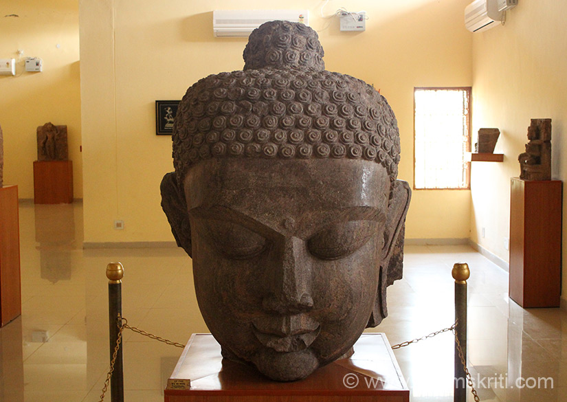 A large image of Buddha``s face inside the Museum.