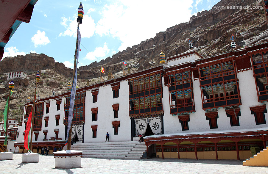 View of Hemis Monastery. It is about 50 kms from Leh, top of the hill end of the road. Front part you see windows, next pic has a close up. It belongs to the Dragon Order of Mahayana