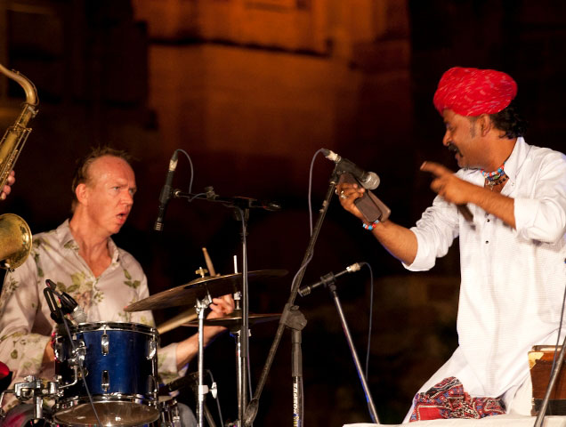 Joost on drums and Bhanwaroo on khartal.
