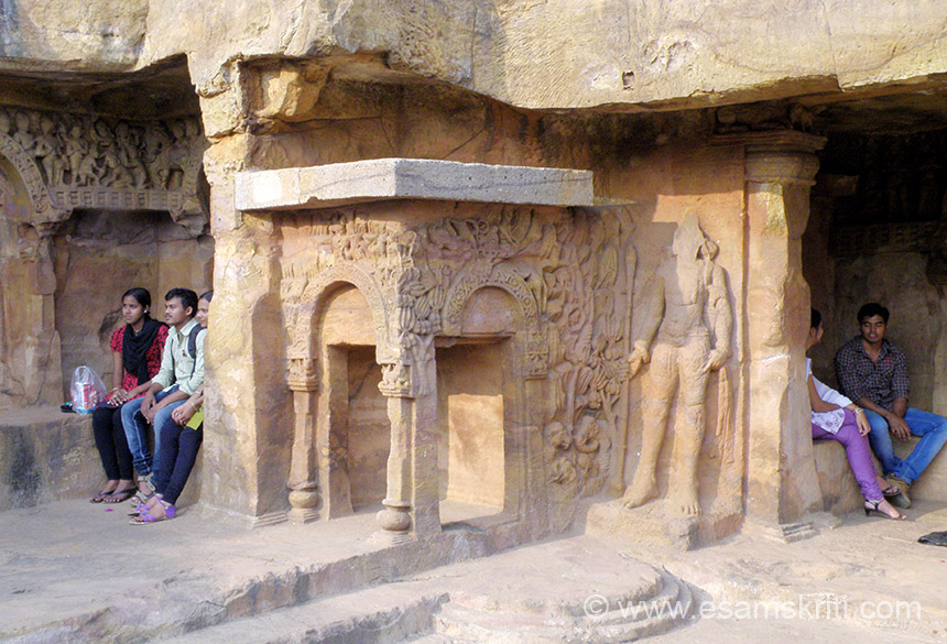 "A view of one corner of Rani gumpa - note the young boys and girls. Damaged image on right of pic is that of a Dvarpala. To see pics of Mukteswar Temple <a href=""http://www.esamskriti.com/photo-detail/Mukteswar-Temple-Bhubhaneshwar.aspx"" target=""_blank"">Click here</a>"