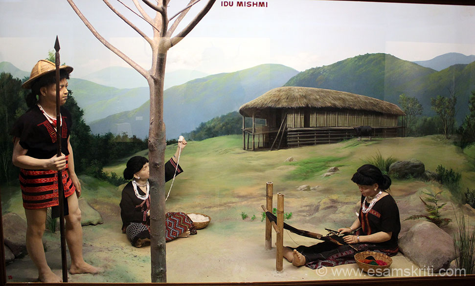 Pic of Idu Mishmi tribe in State Museum Itanagar. Lady making Gale. Locals told me that every girl knew how to make Gale, one of the pre-requisites to find a husband. Do not recall why