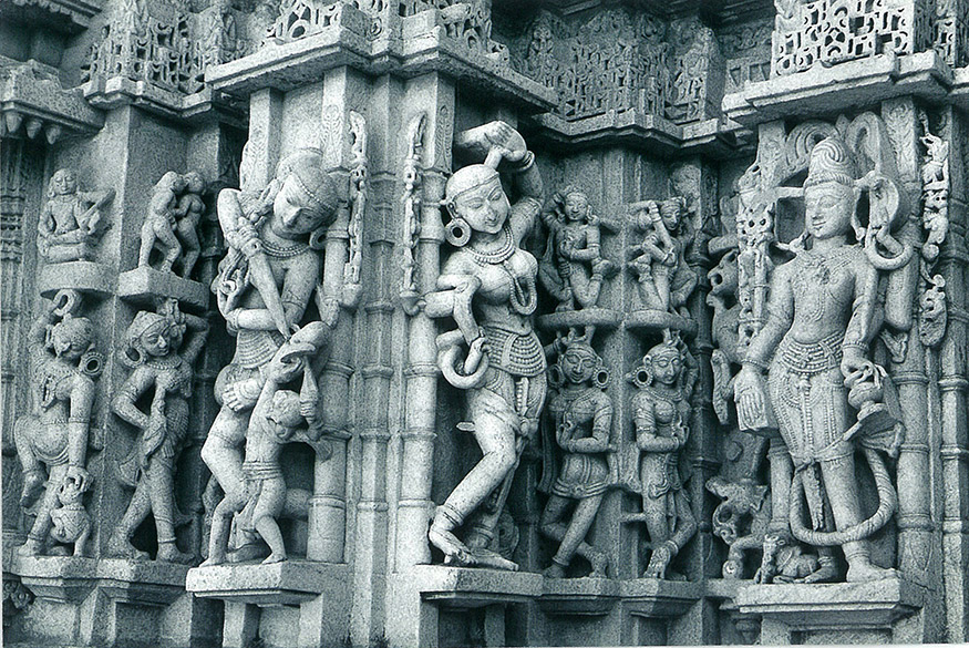 You see dancing figures in the Parshwanath temple.