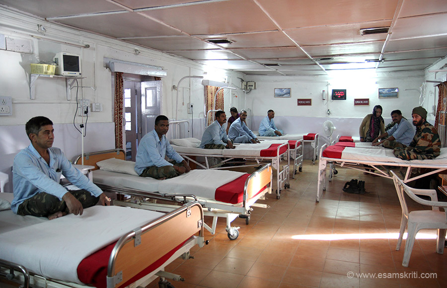 Military Hospital Kargil. Started in July 2008. The hospital mainly caters to the needs of the Army. It has a laboratory, X ray and physiotherapy facility plus dental treatment. It is a 44 bed hospital. App 20 odd civilians walk into the hospital daily.