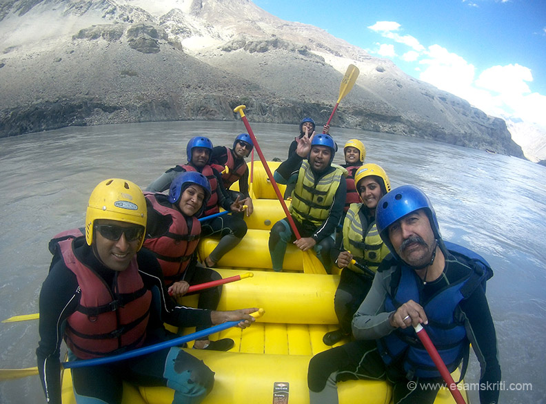 River rafting on the river Zanskar. Team consisted of NRI from California and Singapore, others from Hyderabad, Chennai and Mumbai. It is a short 1.5 hour raft but great time. Must do.