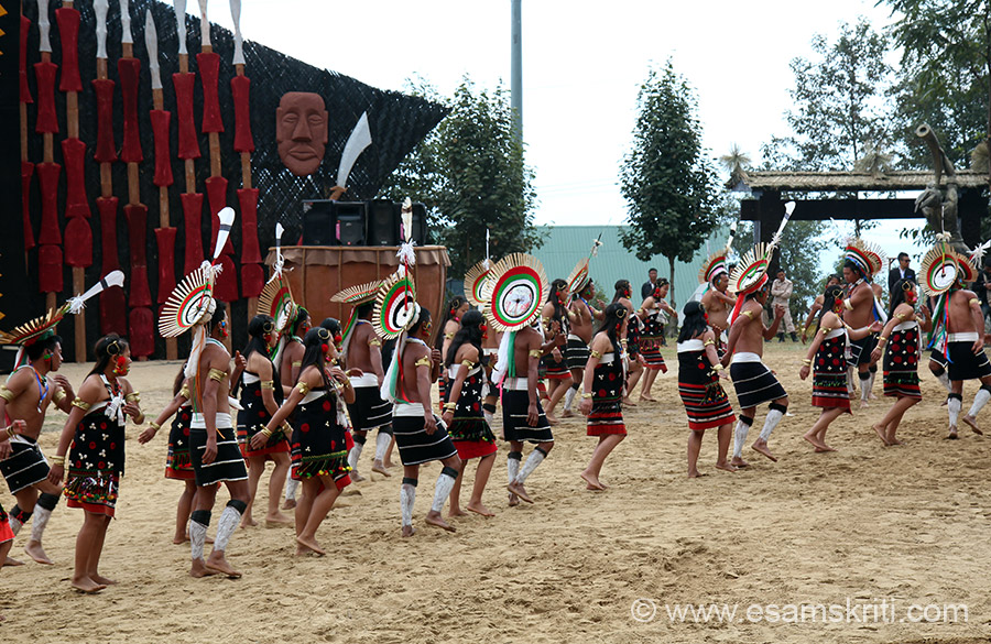 Members of Zeliang tribe dancing in Hornbill festival. Note what men have worn on head.