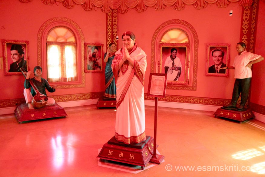 The next room is dedicated to musicians. Centre is Lata Mangeshwar (see her pic behind image), right is Mukesh, extreme left is Bharat Bhushan, on his right is Asha Bhonsle.
