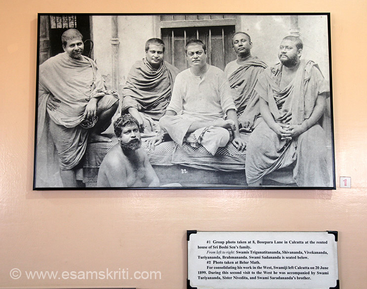 Group photo taken at Belur Math. Swamiji left for the West again in June 1899. He was accompanied by Sister Nivedita, Swami Turiyananda and Swami Sarananda``s brother.