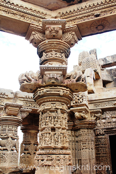 Showing you pillars of different designs and from various angles because found the pillars the most o/s part of this mandir. Lower portion of pillar damaged. Left and right are images of 