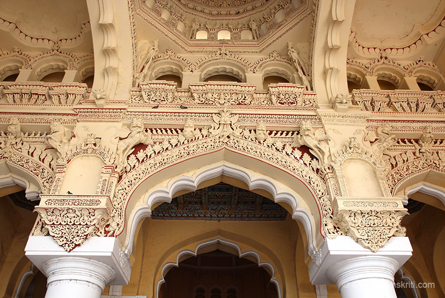 Close up of intricate work on arches. Images dominated by animals and kirti mukhas. Impressive stuccowork.