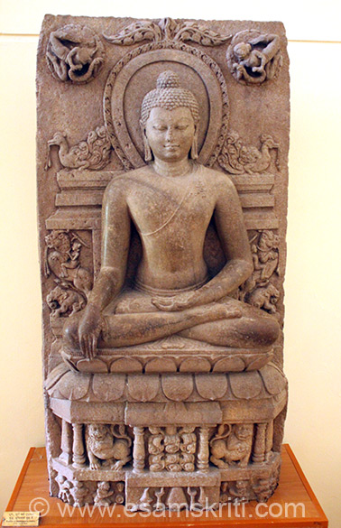 Buddha in Bhumisparsa Mudra. It depicts Buddha sitting in meditation with his right hand touching the earth and left palm/hand upright in his lap. This represents the moment of Buddha``s