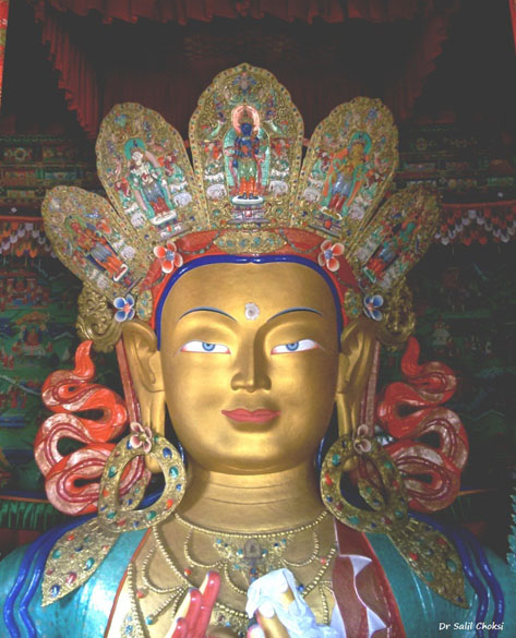The Maitreya (future Buddha) Temple is installed to commemorate the visit of the 14th Dalai Lama to this monastery in 1970. The deified 15 metres (49 ft) high statue of Maitreya, the largest such statue in Ladakh, covering two storeys of the building.