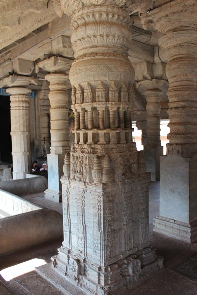 """Ornate pillars. """"There are beautiful images of Jain Trirthankar, Yakshas and Yakshis in every Jain basadi of Moodabidri. The stucco images in the Leppada basadi and Ammanavara Basadi "" are worth a visit. The Jain tombs and Nyaya basadi at Kodangallu, in the outskirts of Moodabidri are movements of great historical interest."""