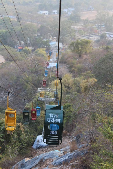 This is from about mid way on way down. I first got to know about the ropeway ride when I saw the Dev Anand blockbuster ``Johny Mera Naam``. Dev Sahaab was wooing Hema Malini whilst both