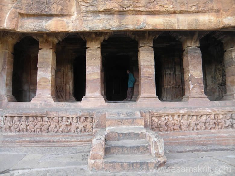 Entrance to cave 2 called Vishu cave. Note the carvings next on left and right of steps. This cave has different forms of Vishnu like Trivikrim, Varaha etc.