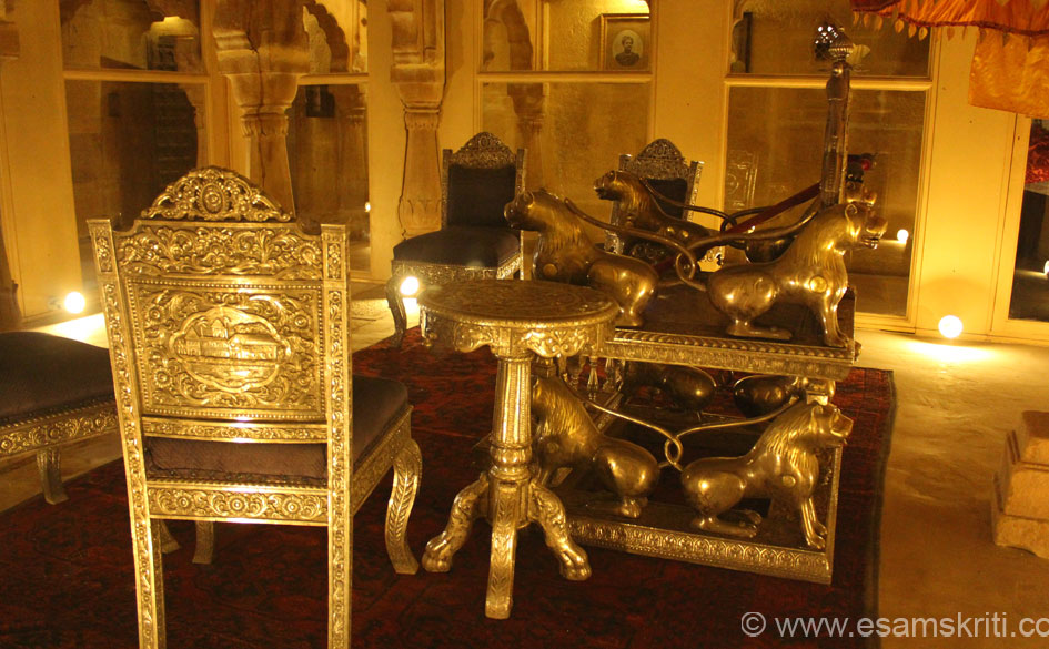 Old furniture etc is displayed in the museum. This is silver plated or silver furniture. Display of furniture is not as impressive as in the Havelis of Jaisalmer. Overall the place is very 