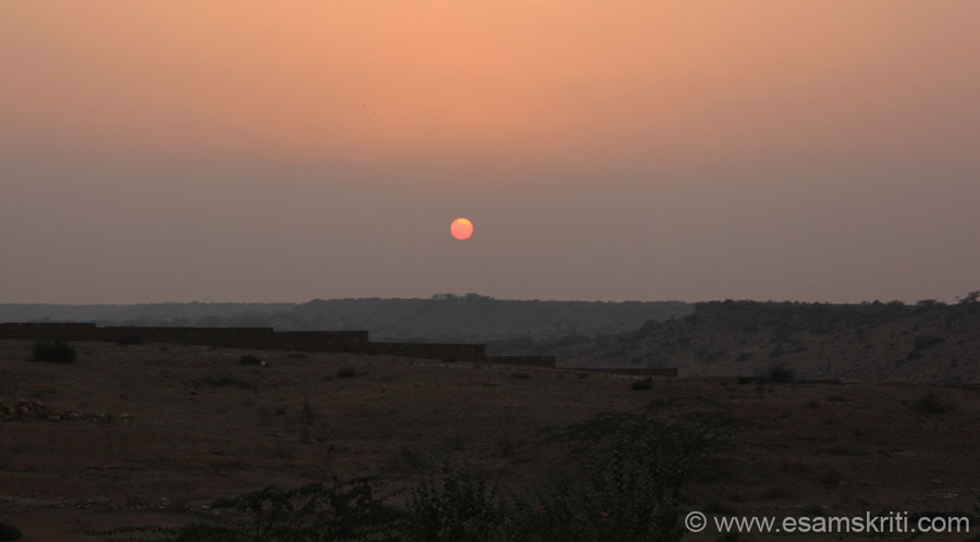 Sun set from Vyas Chhatri. ``The Sunset point over Sooli Dongri is a big hit with tourists and is definitely worth making a trip to if you want a bird's eye view of Jaisalmer and its adjoining areas.``