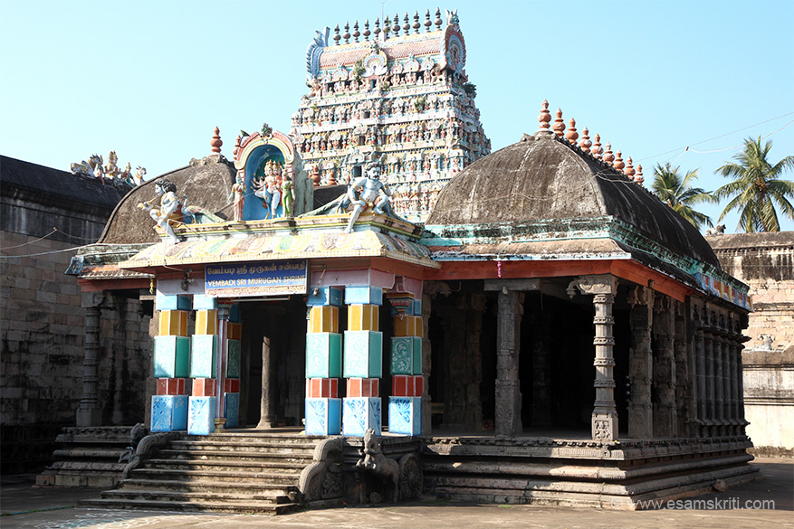 Murugan shrine with west side gopuram in centre.