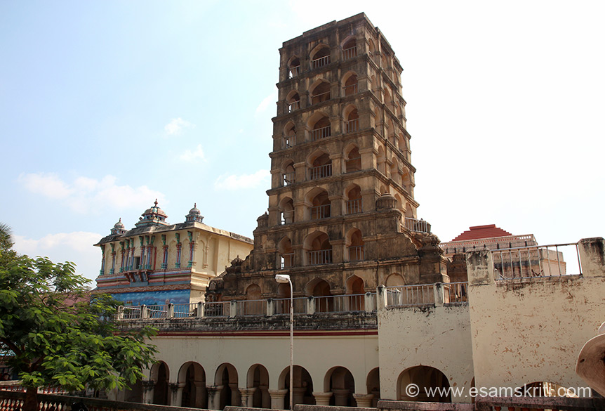 "Left of pic is BELL TOWER and then entrance to Art Gallery. ""This tower is also known as ""the wide holed ear pavilion"" to the public. It is also believed that the Vijayaraghava Nayakkar offered worship in the direction of Srirangam from the top terrace of this tower. "" Tower had more than 7 storeys which were damaged. ""A research note informs that there was a novel clock of sizable dimensions, forming part of the structure in which the figure of a monkey used to strike the gong every hour. The tower is fashioned in the style of Gingee Nayaks. """