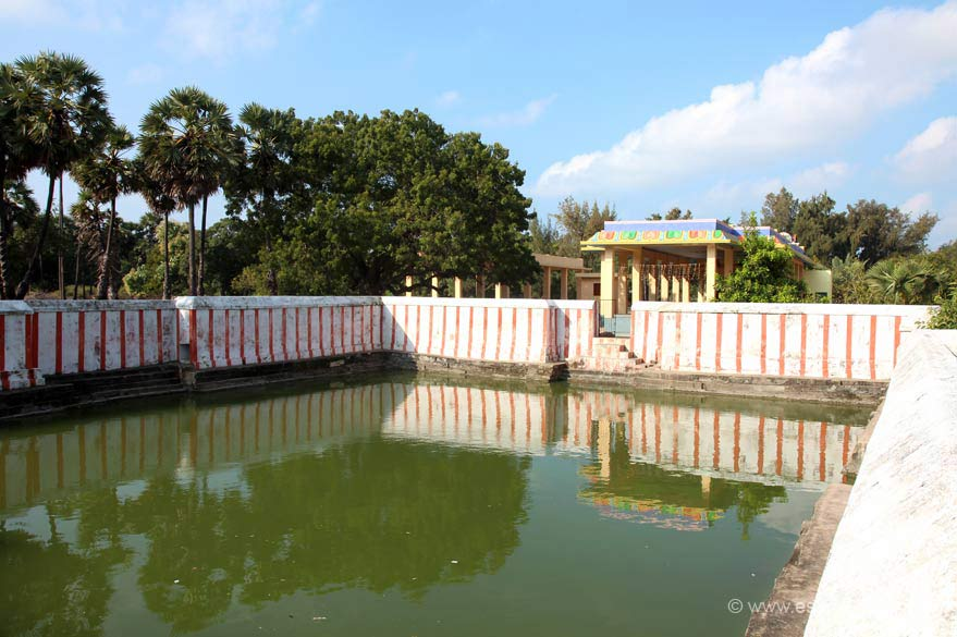 Jada Theertham is 3.5 kms from Rameswaram. It is believed that, Rama on his return from Lanka after Ravana Vadham, washed his Jada [hair] in this theertham to purify him before proceeding to worship Ramalingeswarar. Hence this holy water body is called Jada Theertham. ""